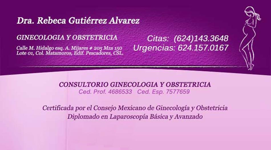 Dra Rebeca Gutierrez Alvarez Ginecologa